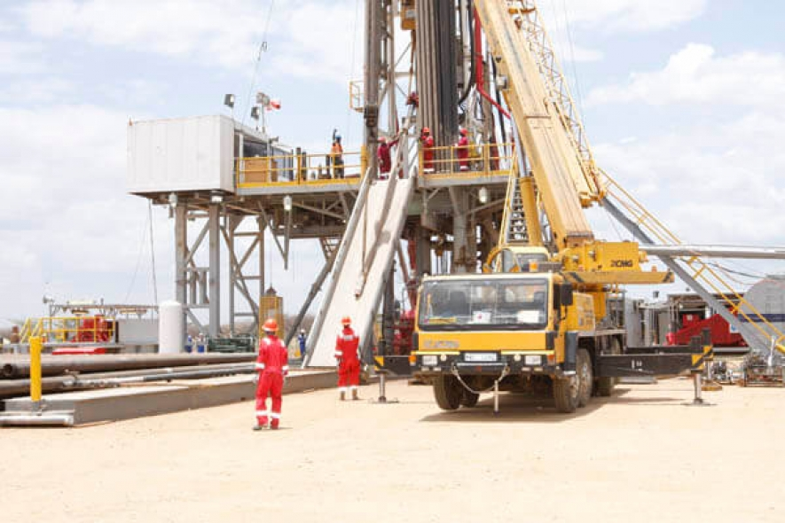 Technical staff at Ngamia 1 oil rig in Turkana. Tullow Oil expects to pick crude transporter by end of March 2017.