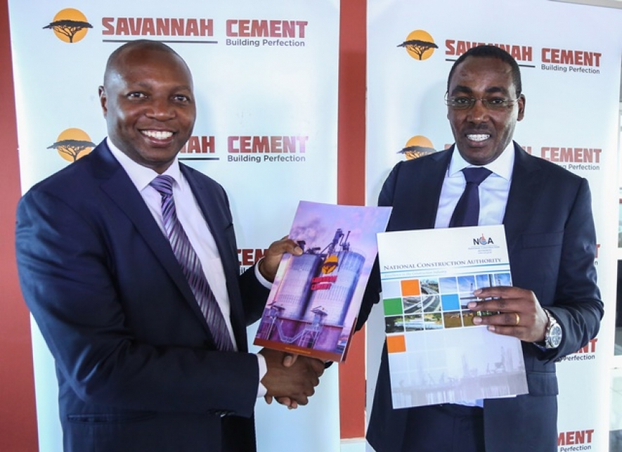 NCA Executive Director Dr Daniel Manduku and Savannah Cement CEO Ronald Ndegwa