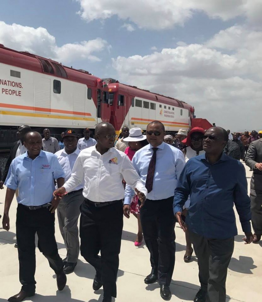 The locomotives were received on behalf of the Government by the Cabinet Secretary for Transport, Infrastructure, Housing, and Urban Development, Mr. James Macharia at a ceremony held at Mombasa Port's Port Reitz Station, which is the starting point for the SGR's Mombasa-Nairobi line.