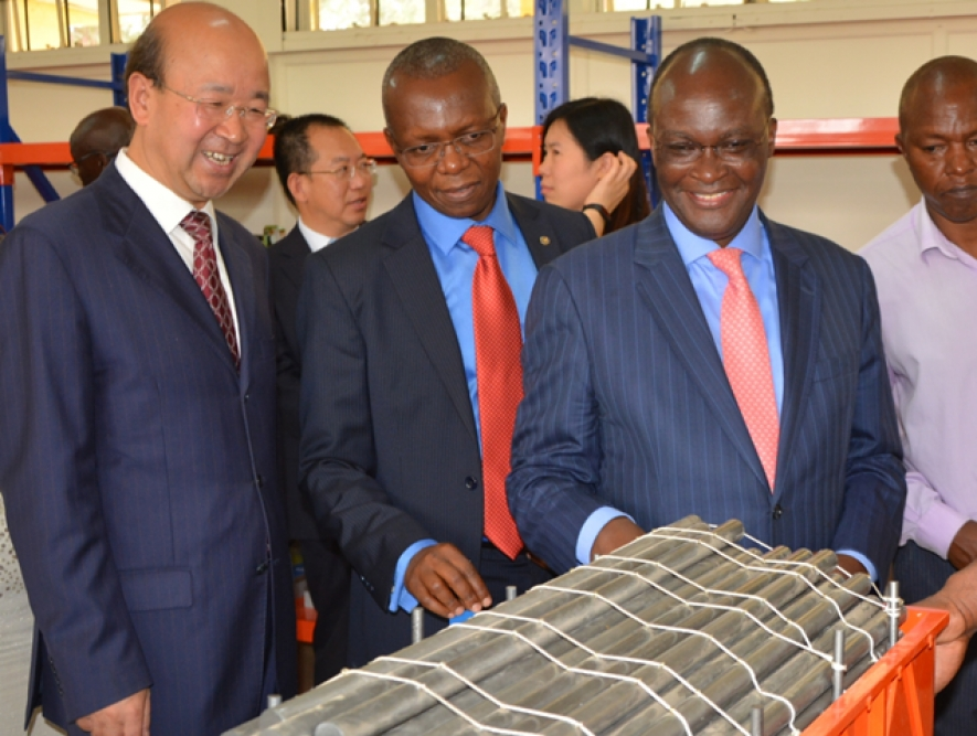 From left, Chinese Ambassador to Kenya Liu Xianfa , Kenya Railways MD Atanas Maina and Transport CS James Macharia inspect the Railways training Institute laboratory during the farewell ceremony for the second batch of 35 students leaving for China on a scholarship for the Standard Gauge Railway on 22nd February 2017.
