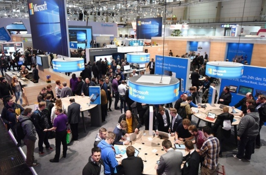 Exhibitors at a past CeBIT conference and exhibition
