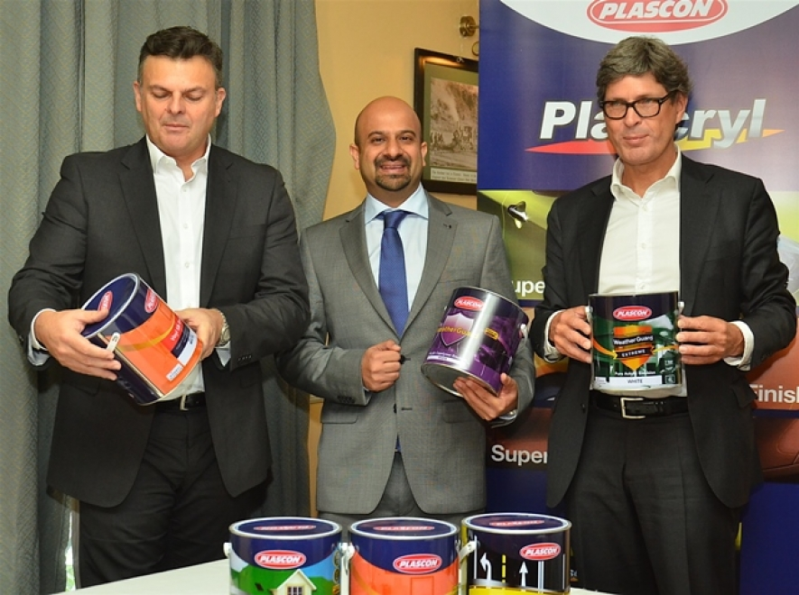 The President Kansai Plascon East Africa Ltd Gary Van Der Merwe, Kansai Plascon Kenya Managing Director Jamil Virjee and Managing Director East Africa Wim Bramer during the press conference to unveil the details of the acquisition at Stanley hotel Nairobi.