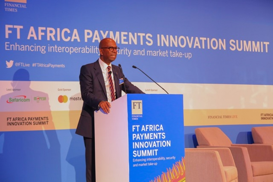 Mr.Bob Collymore the CEO of Safaricom while making the announcement at the Africa Payments Innovation Summit hosted by Financial Times on Wednesday morning.
