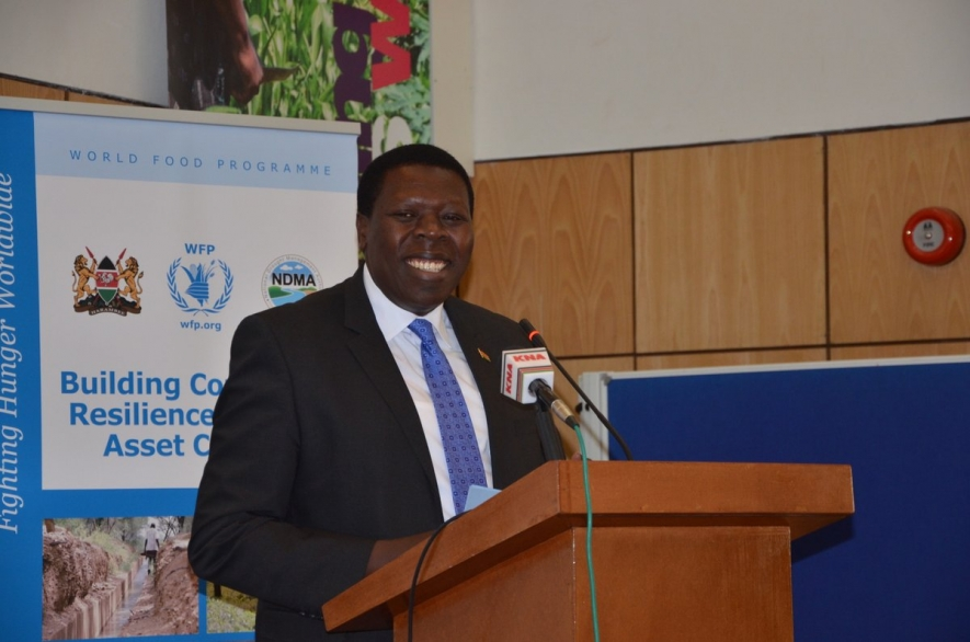 Water and Irrigation CS, Eugene Wamalwa during the launch of the water harvest campaign 2017 at World Agroforestry,Gigiri