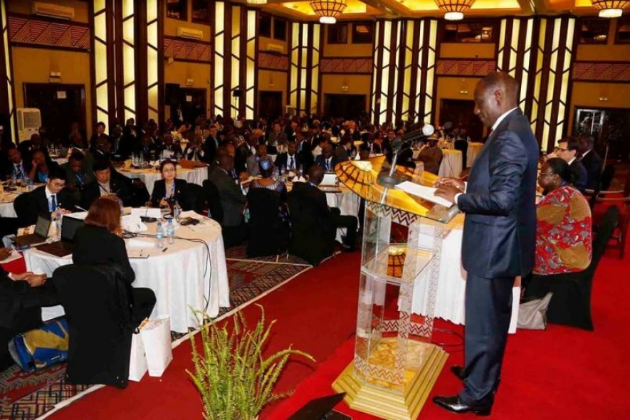 Deputy President William Ruto giving an address during the opening of PASET forum in Nairobi