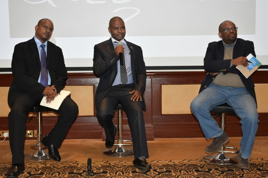 (L-R) Patrick Ndegwa, SEACOM Business Sales Lead, Stanley Chege CIO Madison Group Kenya and Harry Hare Chairman CIO East Africa